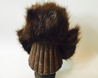 e0063c3d179f2 1970s beaver fur trapper hat   fur trapper hat   beaver fur winter hat   vintage  trapper hat   winter fur hat   Winter hat with ear flaps