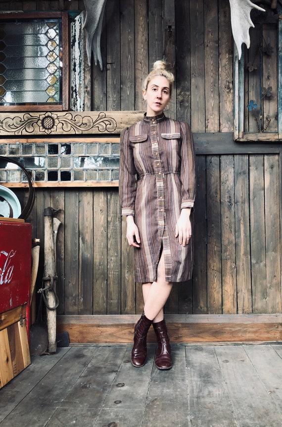 1970s Striped Dress || Brown Dress || Pioneer Dres