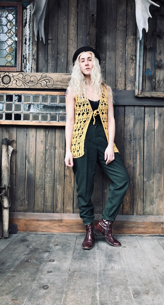 Crochet Vest  || Mustard Vest || Knit Crochet Vest
