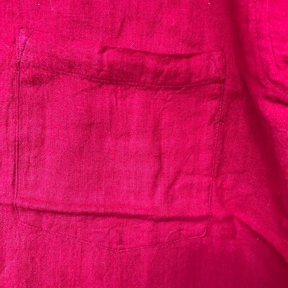 Hand Woven Cotton Shirt || Brilliant Red Short Sl… - image 8