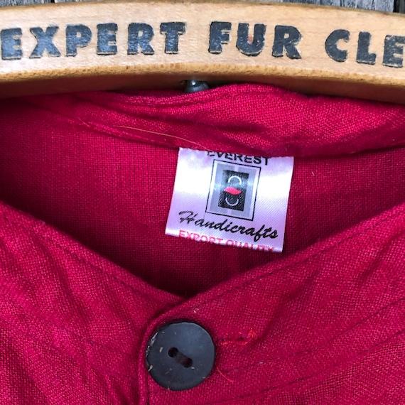 Hand Woven Cotton Shirt || Brilliant Red Short Sl… - image 4