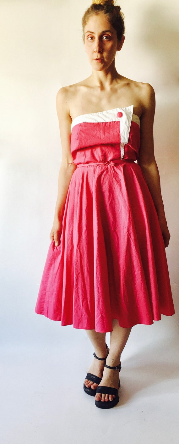 1950's Strapless Dress || Pink Strapless Dress ||