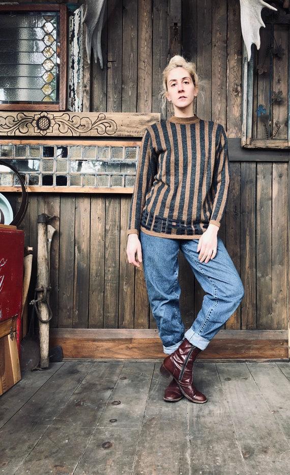 Striped Mockneck Knit    Knit Pullover    Striped