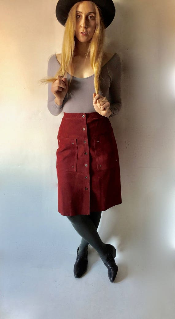Ox Blood Red Suede Skirt || Suede Skirt || Suede P
