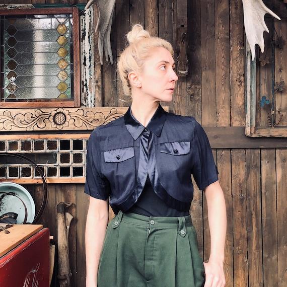 Vintage Navy Short Sleeve Bolero || Navy Shoulder