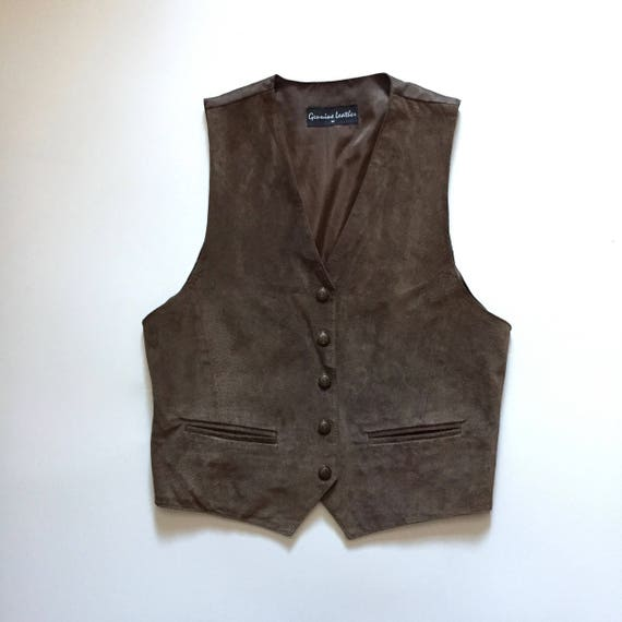Brown Suede Vest || Vest with Buttons || Brown Su… - image 3