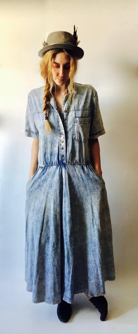 Denim Maxi Dress || Oversized Denim Dress || Jean