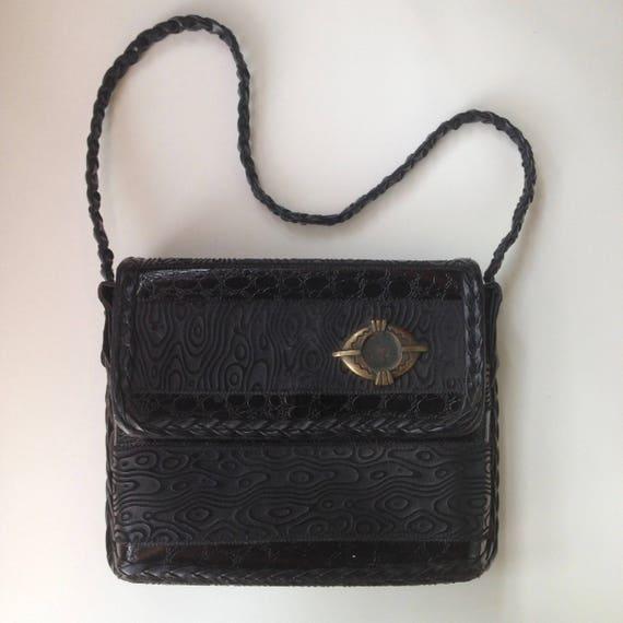 Black Leather Purse ||  Leather Box Purse || 80s B