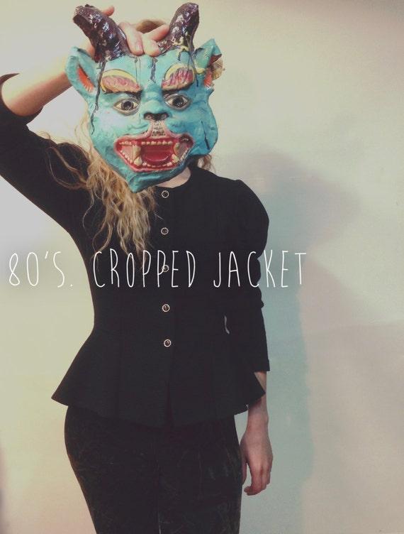 Vintage Black Blazer || 80's Blazer || Cropped Jac