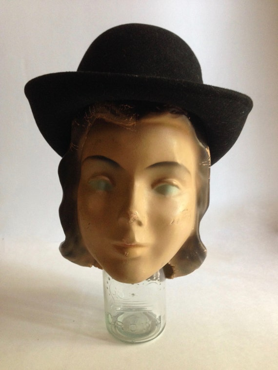 Vintage black wool bowler hat   doe skin fedora   50 s  400b516b378c