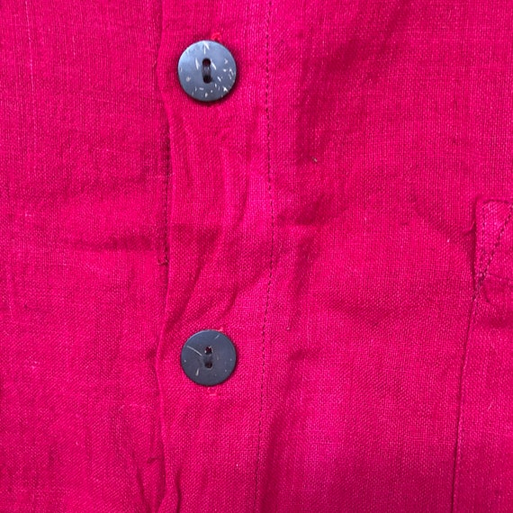 Hand Woven Cotton Shirt || Brilliant Red Short Sl… - image 5