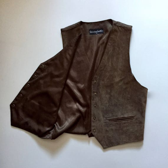 Brown Suede Vest || Vest with Buttons || Brown Su… - image 4