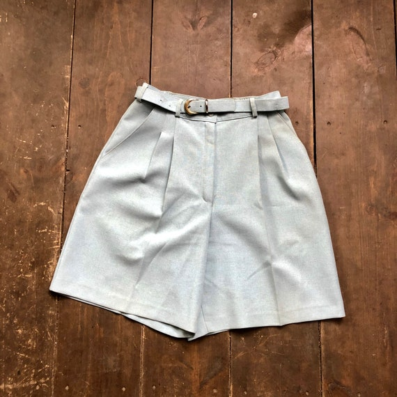 Light Blue Pleated Dress Shorts || Bermuda Pleated