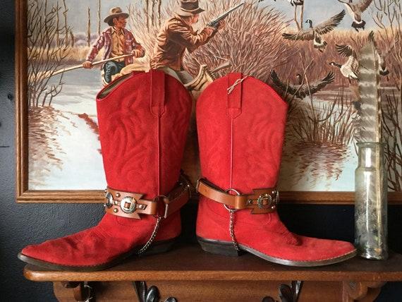 Suede Cowboy Boots || Red Cowboy Boots || Vintage