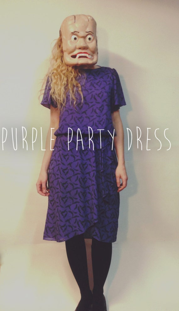 Purple Party Dress || 80's Party Dress || Midi Dre