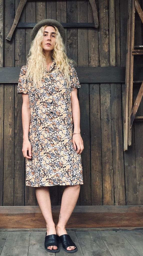 Floral Shirt Dress || Floral Dress || 70s Summer D