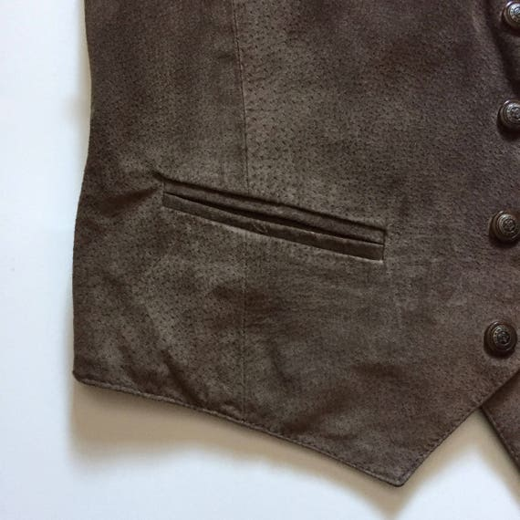 Brown Suede Vest || Vest with Buttons || Brown Su… - image 5