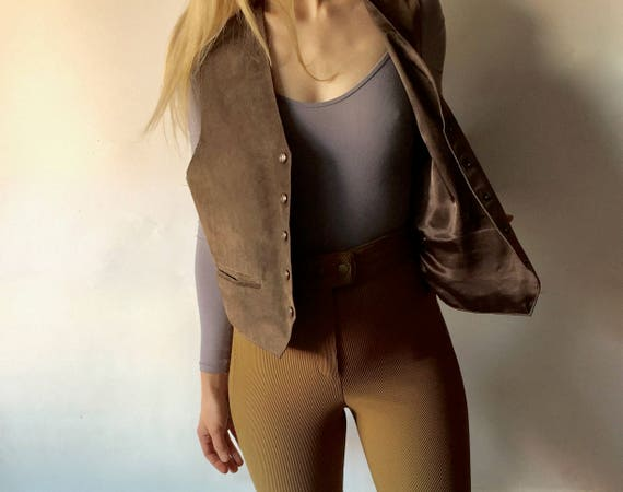 Brown Suede Vest || Vest with Buttons || Brown Su… - image 2