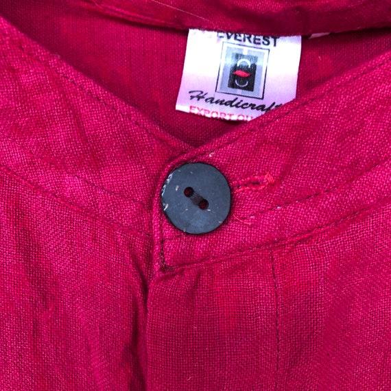 Hand Woven Cotton Shirt || Brilliant Red Short Sl… - image 3