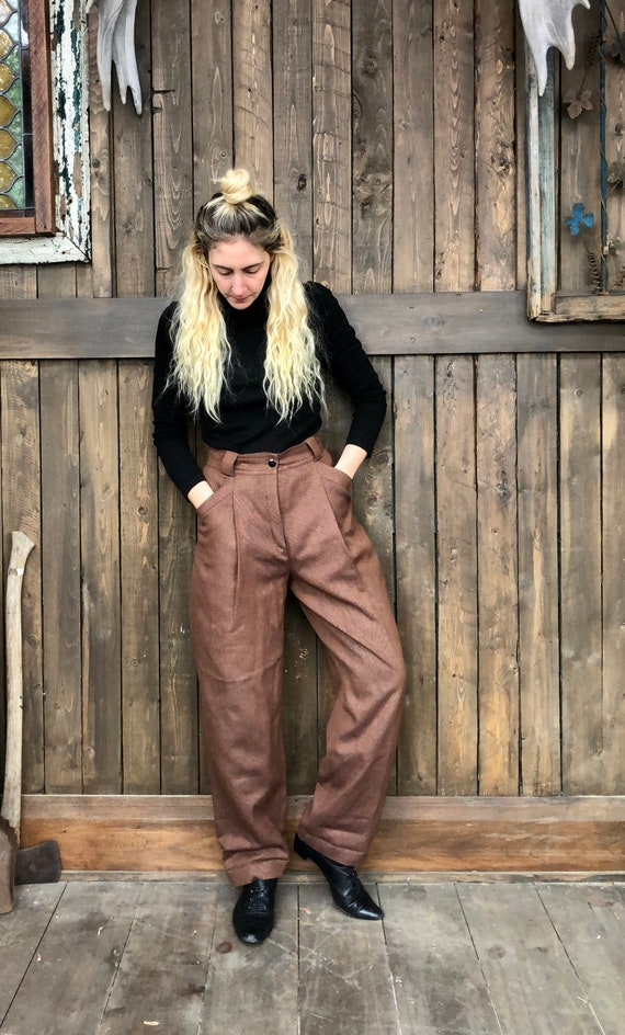 High Waist Trousers || Brown Trousers || Loose Fit