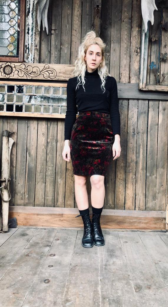 Velvet Pencil Skirt || High Waist Velvet Skirt ||