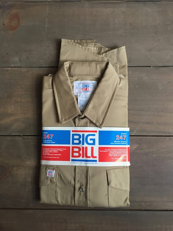 Mechanic Shirt || Big Bill Work Shirt || Beige Wor