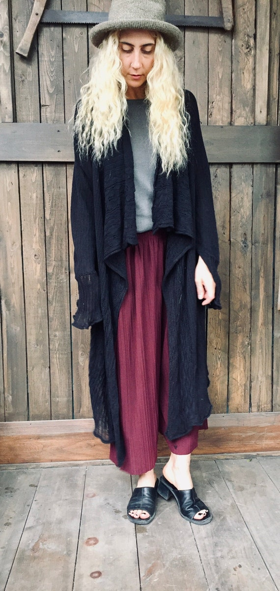 Black Cloak Cardigan || Draped Cardigan || Long Wr