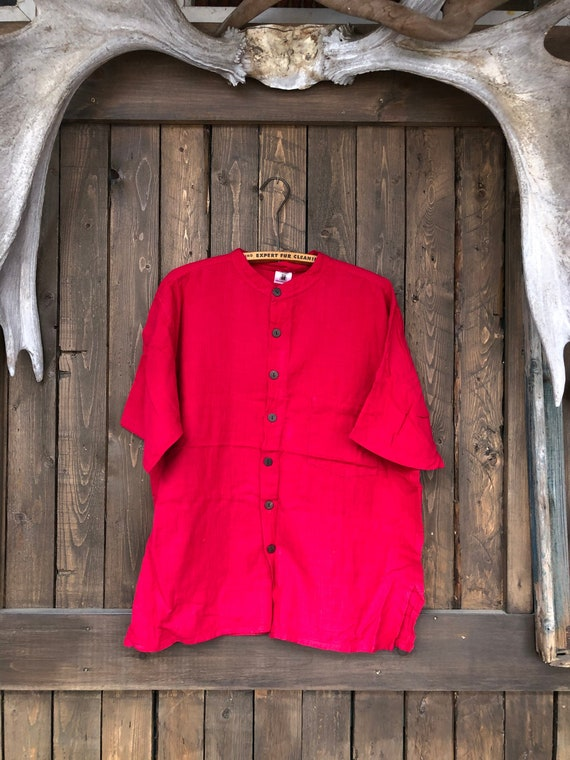 Hand Woven Cotton Shirt || Brilliant Red Short Sle