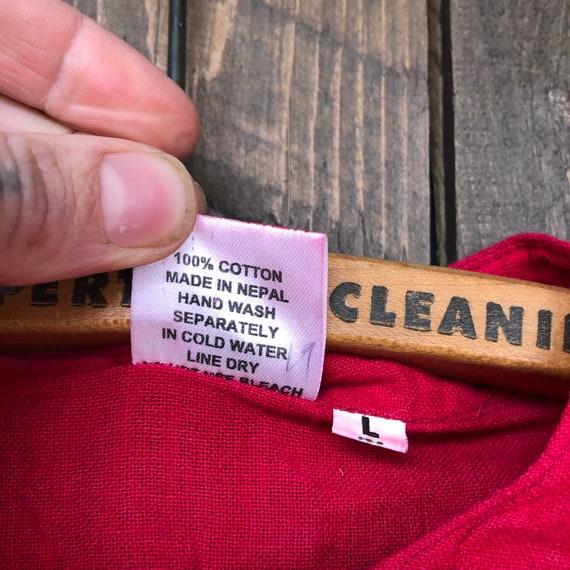 Hand Woven Cotton Shirt || Brilliant Red Short Sl… - image 6