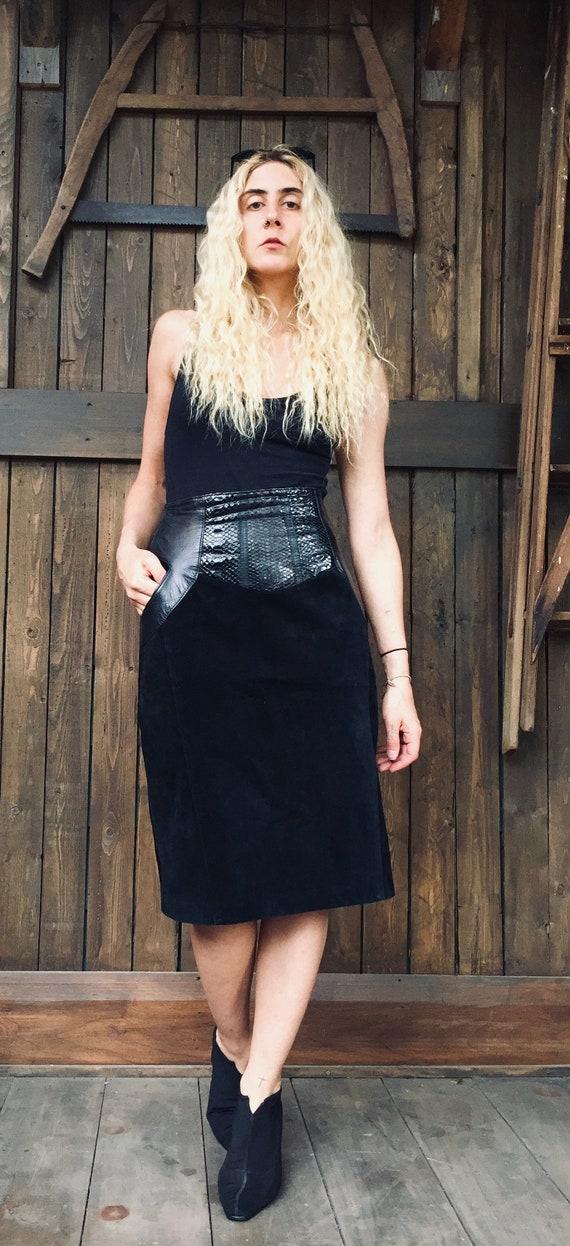 Snake Skin Skirt || Black Suede Skirt || Black Lea