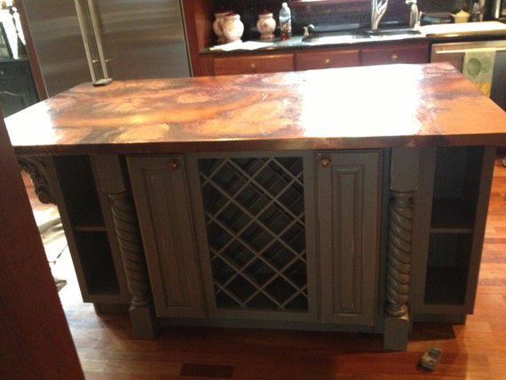 Custom Made Copper Kitchen Island Tops per square foot