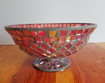 Red Mosiac Glass Footed Bowl