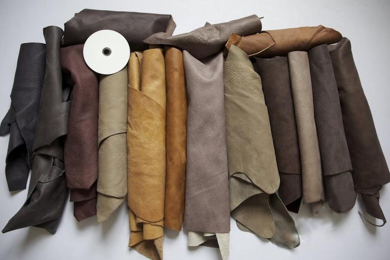 1kg Beautiful Large  scraps/ Off cuts Leather Italian image 0