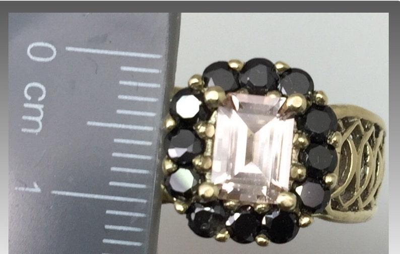 FREE SIZING 14k Morganite /& Onyx Ring