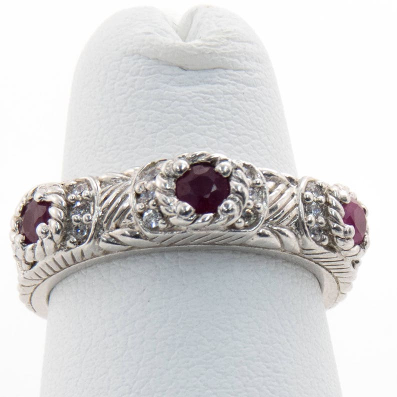 3f54ca6d4243f Judith Ripka Sterling Silver CZ and Red Stone Ring Size 6