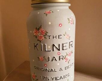 Hand Painted Kilner Mason Jar With Vintage Roses, Dot Daisies and Polka Dots