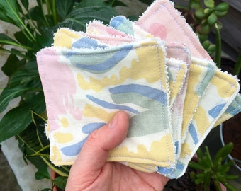 Reusable cotton pads x6 vintage fabric // make up remover handmade plastic free zero waste preloved laura Ashley towelling eco Mother's Day
