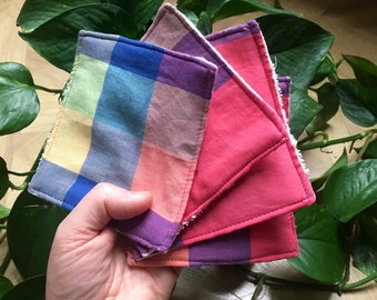 Reusable large cotton pads x4 plus wash bag// make up remover handmade plastic free zero waste thrifted fabric upcycled recycled towel scrub