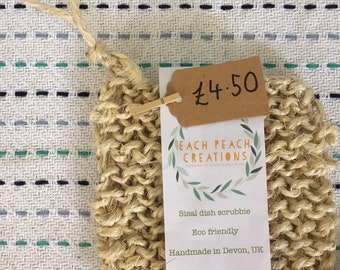 Hand Knitted Sisal Dish Scrubbie // eco friendly plastic free zero waste handmade sustainable