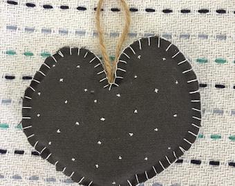 Zero waste, handmade, grey hanging heart //plastic free upcycled recycled materials vegan