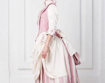 Historical costume 1870-1880 Europe fashion tournure dress. Victorian dress. Steampunk style costume