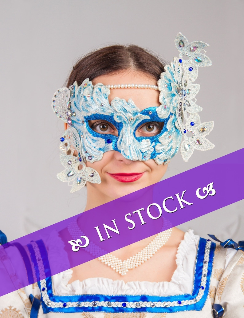 Carnival mask blue with white Venetian mask with lace Venetian carnival assesories Masquerade mask !!!IN STOCK!!!