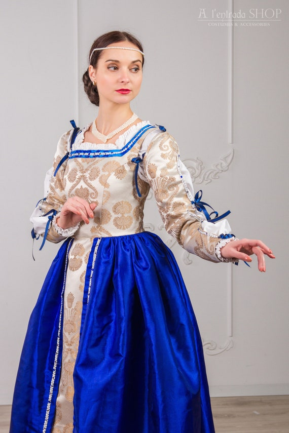 Renaissance dress dark blue silver Medieval gown late 15th century  Renaissance womens costume Blue renaissance gown Borgia dress FOR ORDER