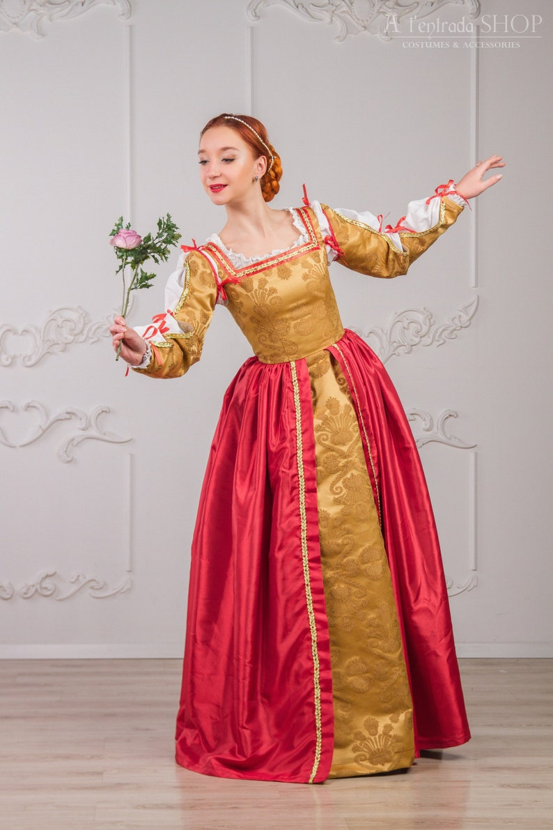 Red with gold Renaissance dress Medieval gown late 15th century Renaissance  womens costume  Red renaissance gown Lucrezia Borgia FOR ORDER