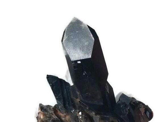 Deep Black Morion Channeling Crystal Cluster 109 gm.