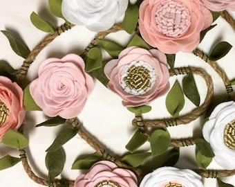 Handmade Felt Flower Garland i pink, white, and gold for nursery birthday baby photo prop