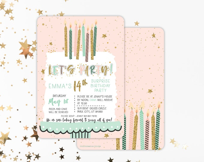 Surprise Party PRINTED Invitation - Rounded Corner - Surprise Party Invite - Let's Party