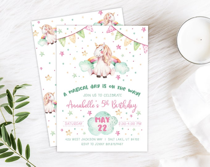 Unicorn Rainbow Birthday PRINTED Invitation - Unicorn Party Invitation - Birthday Rainbow Party Invite