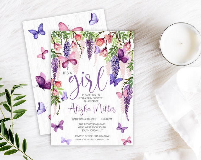 Butterfly Baby Shower PRINTED Invite - Butterfly Party Invite - Butterfly Wisteria Flower Invite