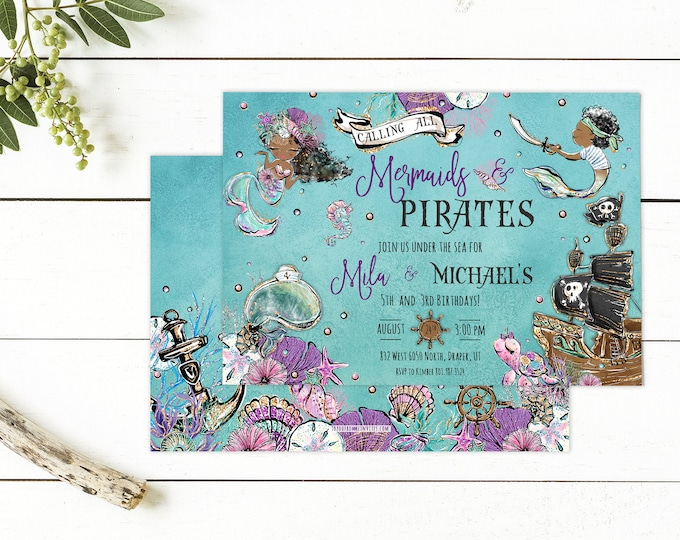 Mermaids and Pirates Party PRINTED Invite - Birthday Party Invite - Under the Sea Mermaid Pirates